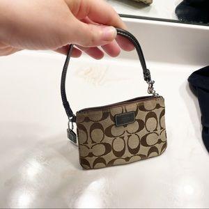 Coach monogram canvas tan brown wristlet mini bag coin purse